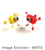 #60973 Royalty-Free (Rf) Illustration Of Two 3d Yellow And Red Camera Boy Mascots Jumping - Version 1
