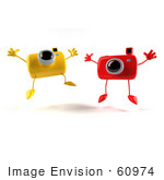 #60974 Royalty-Free (Rf) Illustration Of Two 3d Yellow And Red Camera Boy Characters Jumping - Version 2