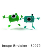 #60975 Royalty-Free (Rf) Illustration Of Two 3d Green Camera Boy Characters Jumping - Version 1