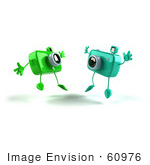 #60976 Royalty-Free (Rf) Illustration Of Two 3d Green Camera Boy Characters Jumping - Version 2
