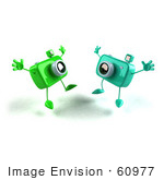 #60977 Royalty-Free (Rf) Illustration Of Two 3d Green Camera Boy Characters Jumping - Version 3
