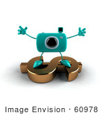 #60978 Royalty-Free (Rf) Illustration Of A 3d Turquoise Camera Boy Character Standing On A Gold Dollar Symbol - Version 3