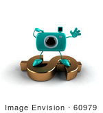 #60979 Royalty-Free (Rf) Illustration Of A 3d Turquoise Camera Boy Character Standing On A Gold Dollar Symbol - Version 5