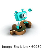 #60980 Royalty-Free (Rf) Illustration Of A 3d Turquoise Camera Boy Character Standing On A Gold Dollar Symbol - Version 2