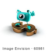 #60981 Royalty-Free (Rf) Illustration Of A 3d Turquoise Camera Boy Character Standing On A Gold Dollar Symbol - Version 1