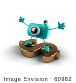 #60982 Royalty-Free (Rf) Illustration Of A 3d Turquoise Camera Boy Character Standing On A Gold Dollar Symbol - Version 4