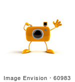 #60983 Royalty-Free (Rf) Illustration Of A 3d Yellow Camera Boy Character Waving - Version 1