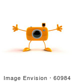 #60984 Royalty-Free (Rf) Illustration Of A 3d Orange Camera Boy Character Holding His Arms Open