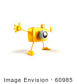 #60985 Royalty-Free (Rf) Illustration Of A 3d Yellow Camera Boy Character Holding His Arms Open - Version 2