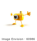 #60986 Royalty-Free (Rf) Illustration Of A 3d Yellow Camera Boy Character Holding His Arms Open - Version 1