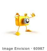 #60987 Royalty-Free (Rf) Illustration Of A 3d Yellow Camera Boy Character Waving - Version 3