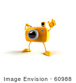 #60988 Royalty-Free (Rf) Illustration Of A 3d Yellow Camera Boy Character Waving - Version 2