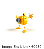 #60989 Royalty-Free (Rf) Illustration Of A 3d Yellow Camera Boy Character Holding His Arms Open - Version 3