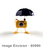 #60990 Royalty-Free (Rf) Illustration Of A 3d Yellow Camera Boy Character Standing Under An Umbrella - Version 1