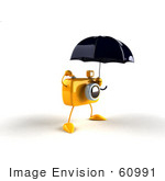 #60991 Royalty-Free (Rf) Illustration Of A 3d Yellow Camera Boy Character Standing Under An Umbrella - Version 2
