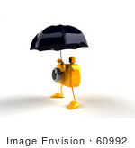 #60992 Royalty-Free (Rf) Illustration Of A 3d Yellow Camera Boy Character Standing Under An Umbrella - Version 3