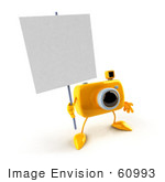 #60993 Royalty-Free (Rf) Illustration Of A 3d Yellow Camera Boy Character Holding Up A Blank Sign - Version 1