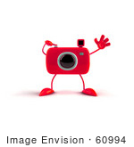 #60994 Royalty-Free (Rf) Illustration Of A 3d Red Camera Boy Character Waving - Version 1