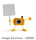 #60995 Royalty-Free (Rf) Illustration Of A 3d Yellow Camera Boy Character Holding Up A Blank Sign - Version 2