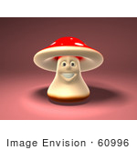 #60996 Royalty-Free (Rf) Illustration Of A 3d Fly Agaric Mushroom Character Smiling And Facing Front - Version 1