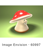 #60997 Royalty-Free (Rf) Illustration Of A 3d Fly Agaric Mushroom Character Facing Right - Version 2