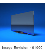 #61000 Royalty-Free (Rf) Illustration Of A Slim Flat 3d Plasma Television Screen On A Mount - Version 3