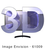 #61009 Royalty-Free (Rf) Illustration Of A Plasma Television With 3d Emerging From The Screen - Version 1
