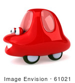 #61021 Royalty-Free (Rf) Illustration Of A 3d Red Car Character Facing Left And Smiling - Version 3