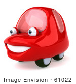 #61022 Royalty-Free (Rf) Illustration Of A 3d Red Car Character Facing Left And Smiling - Version 2