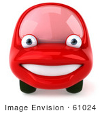 #61024 Royalty-Free (Rf) Illustration Of A 3d Red Car Character Facing Front And Smiling