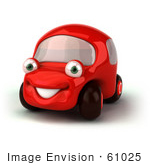 #61025 Royalty-Free (Rf) Illustration Of A 3d Red Car Character Facing Left And Smiling - Version 1