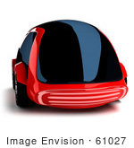 #61027 Royalty-Free (Rf) Illustration Of A 3d Futuristic Aerodynamic Red Car With Tinted Windows - Version 4
