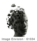 #61034 Royalty-Free (Rf) Illustration Of A 3d Woman&Rsquo;S Head With Floating Particles - Version 8