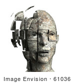 #61036 Royalty-Free (Rf) Illustration Of A 3d Woman&Rsquo;S Head With Floating Particles - Version 5