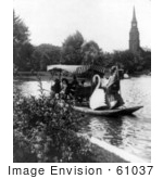 #61037 Royalty-Free Historical Stock Photo Of People Enjoying A Ride On The Swan Bats In The Public Garden, Boston, Massachusetts by JVPD