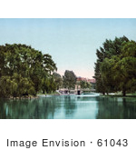 #61043 Royalty-Free Historical Photochrom Stock Photo Of Trees A Bridge And Lake In The Public Garden Boston Masachusetts In 1900