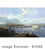 #61045 Royalty-Free Historical Illustration Of People With A View Of Boston And The Harbor At Dorchester Heights