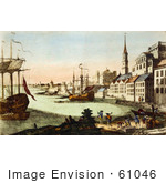 #61046 Royalty-Free Historical Illustration Of People And Boats In The Harbor Boston Massachusetts