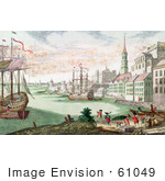 #61049 Royalty-Free Historical Illustration Of British Soldiers And Boats In The Harbor Boston Massachusetts