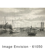 #61050 Royalty-Free Historical Illustration Of A Sepia Engraving Of Boats At The West End Of The Navy Yard In Boston