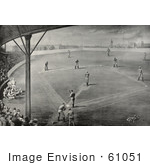 #61051 Royalty-Free Historical Illustration Of A Sepia Engraving Of Fans Watching A Boston Braves Baseball Game by JVPD