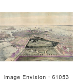 #61053 Royalty-Free Historical Illustration Of An Aerial Veiw Down On Boston, Masachusetts by JVPD