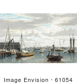 #61054 Royalty-Free Historical Illustration Of People And Boats At The West End Of The Navy Yard In Boston by JVPD