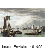 #61055 Royalty-Free Historical Illustration Of People And Boats In The Harbor Of Boston As Seen From City Point Near Sea Street