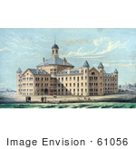#61056 Royalty-Free Historical Illustration Of People On The Beach At New Alms House For The City Of Boston In Massachusetts On Deer Island
