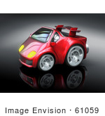 #61059 Royalty-Free (RF) Illustration Of A 3d Red Sports Car - Version 4 by Julos