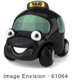 #61064 Royalty-Free (Rf) Illustration Of A 3d Black Taxi Cab Character - Version 1
