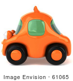 #61065 Royalty-Free (Rf) Illustration Of A 3d Orange Taxi Cab In Profile