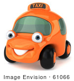 #61066 Royalty-Free (Rf) Illustration Of A 3d Orange Taxi Cab Smiling