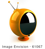 #61067 Royalty-Free (Rf) Illustration Of A 3d Round Yellow Retro Television - Version 3